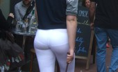 Tight White Leggings Teen Walking Dog